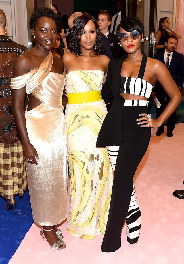 <p>At the celebrity-filled 2017 CFDA Fashion Awards in New York City, the actresses formed one stylish squad. Monae even needed shades! (Photo: Nicholas Hunt/Getty Images) </p>