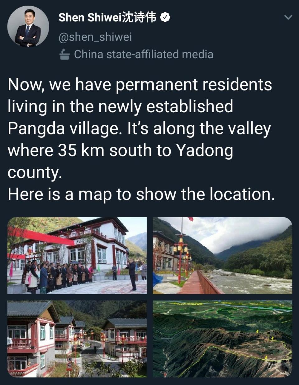 The now deleted tweet from Chinese media boasting about the Pangda village development.