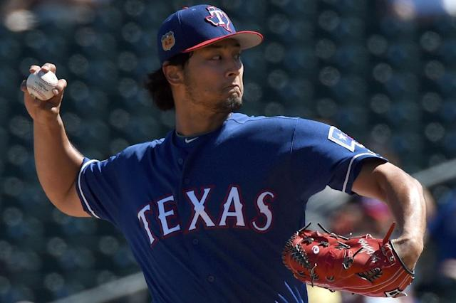 """Yu Darvish has made four starts in pre-season """"Cactus League"""" games, posting a 2.84 earned run average while holding opponents to a .216 batting average (AFP Photo/Lisa Blumenfeld)"""