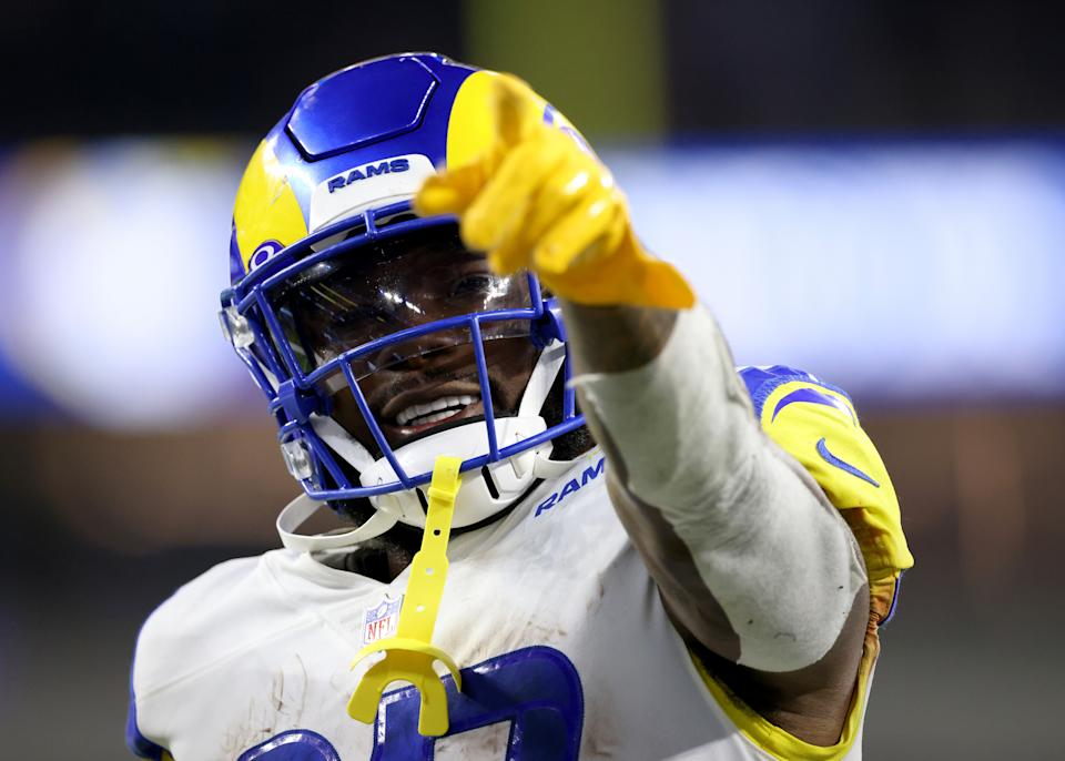 INGLEWOOD, CALIFORNIA - SEPTEMBER 12: Darrell Henderson #27 of the Los Angeles Rams smiles after a 34-14 win over the Chicago Bears at SoFi Stadium on September 12, 2021 in Inglewood, California. (Photo by Harry How/Getty Images)