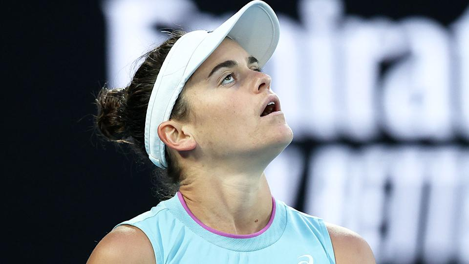 Jennifer Brady look on in frustration in the Australian Open women's final.