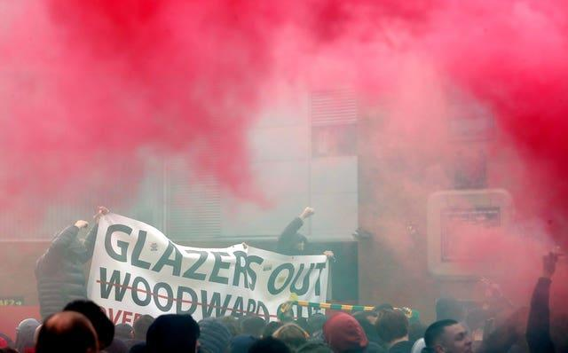Anti-Glazer protests by United fans in May led to the Premier League match against Liverpool being postponed
