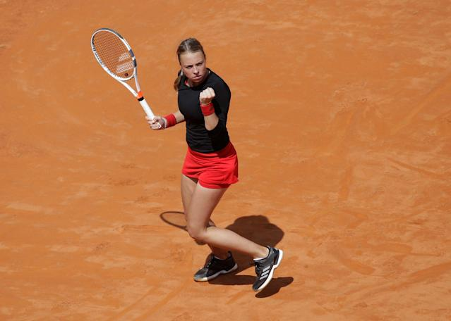 Tennis - WTA Premier 5 - Italian Open - Foro Italico, Rome, Italy - May 17, 2018 Estonia's Anett Kontaveit celebrates during her third round match against Venus Williams of the U.S. REUTERS/Max Rossi