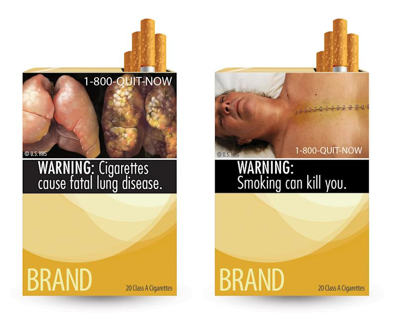 FILE - This file combination photo made from file images provided by the U.S. Food and Drug Administration shows two of nine cigarette warning labels from the FDA. On Tuesday, March 19, 2013, the U.S. government said it won't appeal a court decision blocking it from requiring tobacco companies to put large graphic health warnings on cigarette packages. In a letter obtained by The Associated Press, Attorney General Eric Holder said that the Food and Drug Administration will go back to the drawing board and propose new labels.  (AP Photo/U.S. Food and Drug Administration, File)
