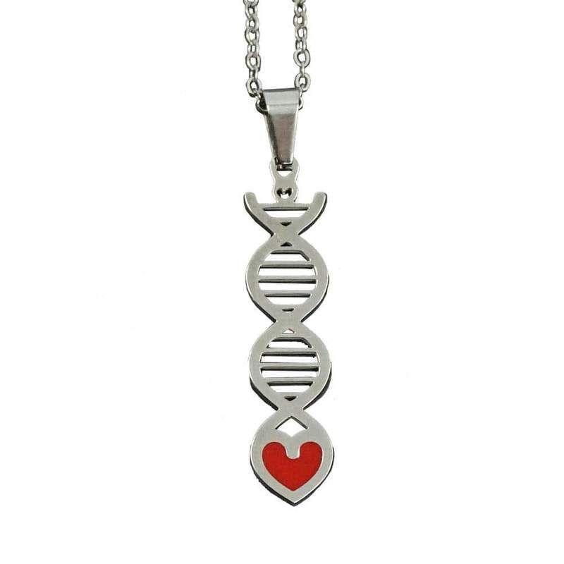 """<p><strong>Svaha</strong></p><p>svahausa.com</p><p><strong>$19.99</strong></p><p><a href=""""https://svahausa.com/collections/all/products/dna-stainless-steel-necklace"""" rel=""""nofollow noopener"""" target=""""_blank"""" data-ylk=""""slk:Shop Now"""" class=""""link rapid-noclick-resp"""">Shop Now</a></p><p>This necklace is the perfect blend of love and science — a DNA strand twisted into a shape of a heart! Give it to your science fiend, and they'll remember that, like DNA, they're one-of-a-kind. </p>"""