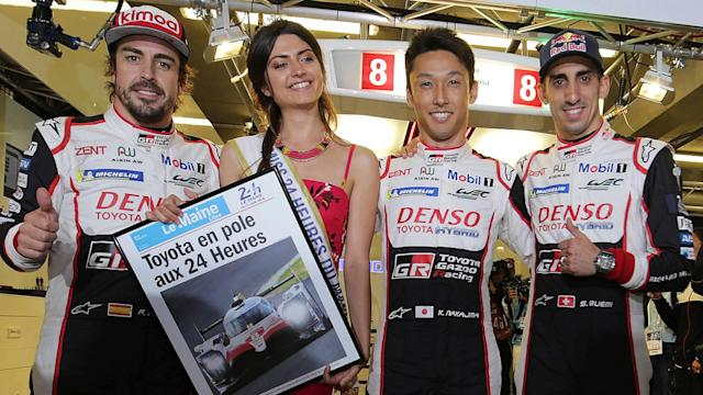 The #8 Toyota of Kazuki Nakajima, Sebastien Buemi and Fernando Alonso will start the Le Mans 24 Hours from pole as the Japanese manufacturer locked out the front row.