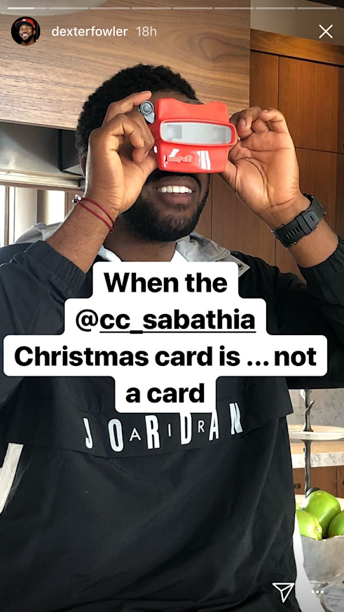 CC Sabathia sent out View-Master Christmas cards. (Snapchat)
