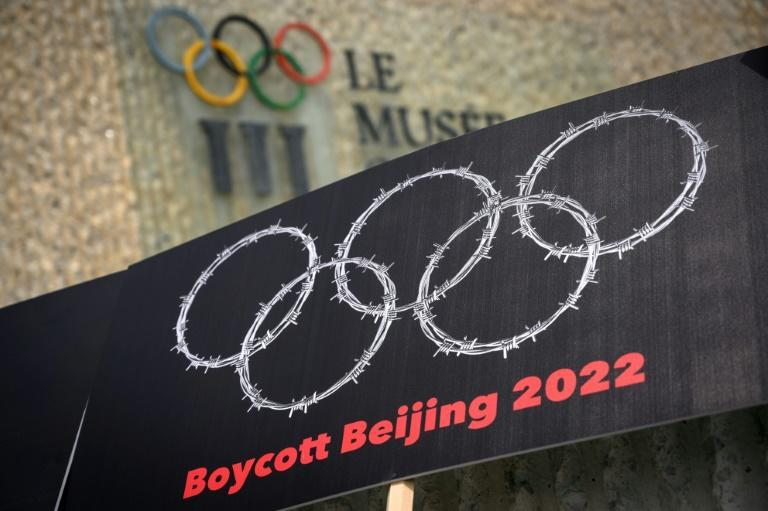 Demonstrators rallied outside the Olympic Museum in Lausanne, the Swiss city that hosts the International Olympic Committee