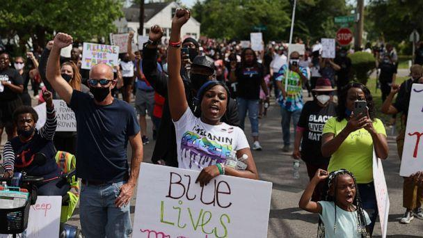 PHOTO: Protesters calling for justice in the shooting death of Andrew Brown Jr. by Pasquotank County Sheriff's deputies march through Elizabeth City, North Carolina, May 2, 2021. (Joe Raedle/Getty Images)