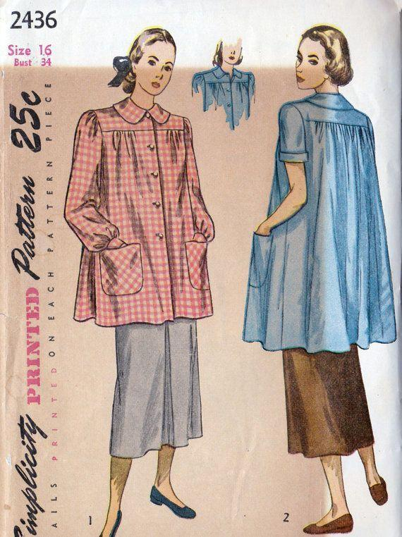 <p>Long, billowy button-downs were a sure tell sign that a woman in the 1940s was expecting.</p>