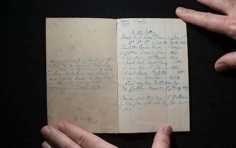 Dickens's hand written inventory of the contents of his wine and spirits cellar at Gad's Hill - Credit: Eddie Mulholland