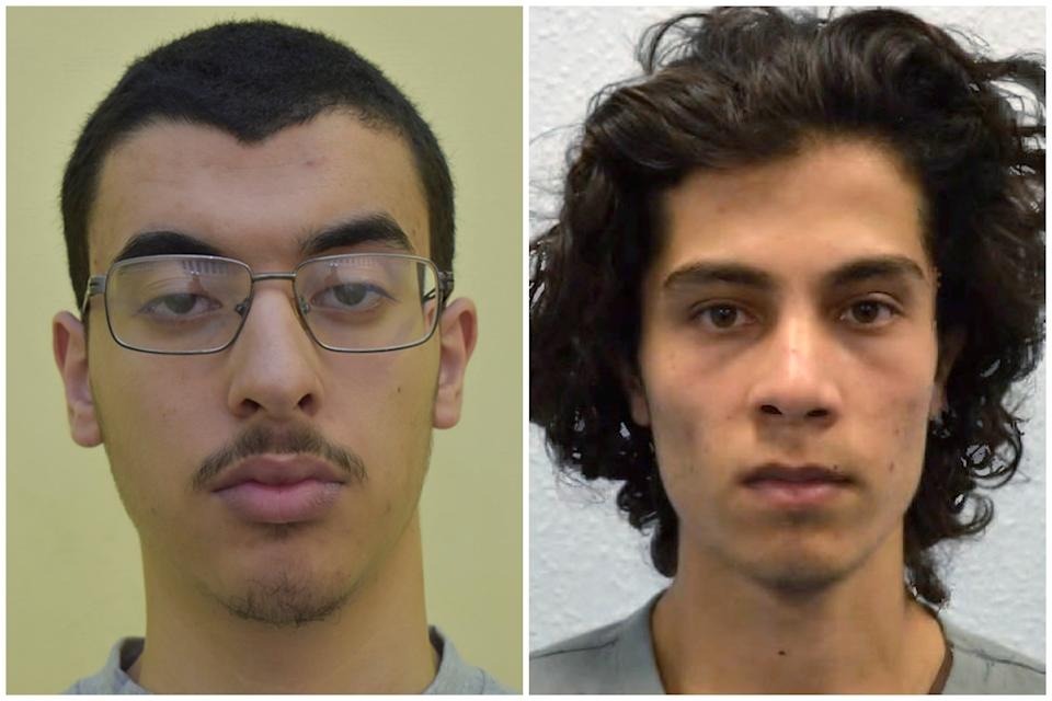 Abedi and Hassan have been charged with assaulting prison officers. (AP/GMP/Metropolitan Police)