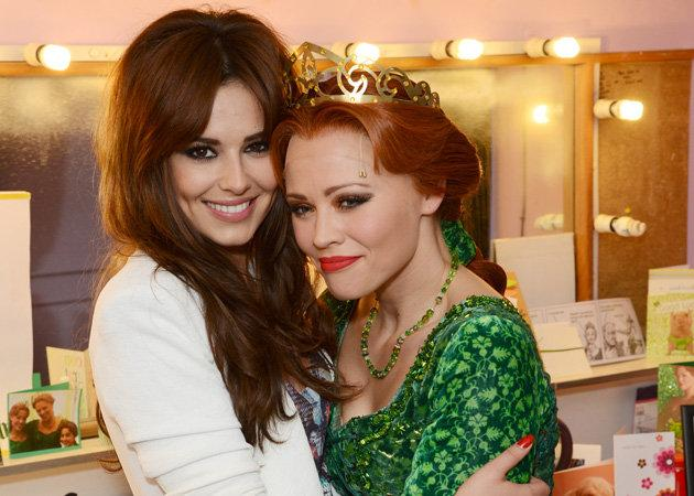 Celebrity photos: This week saw Kimberley Walsh's final performance as Princess Fiona in Shrek The Musical, and Cheryl Cole turned up to support her Girls Aloud band-mate. The pair posed for these cute photos backstage.