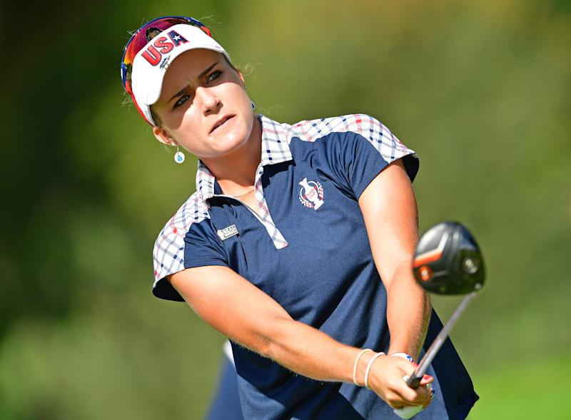 Lexi Thompson of Team USA reacts to a shot on August 20, 2017 in West Des Moines, Iowa (AFP Photo/STUART FRANKLIN)