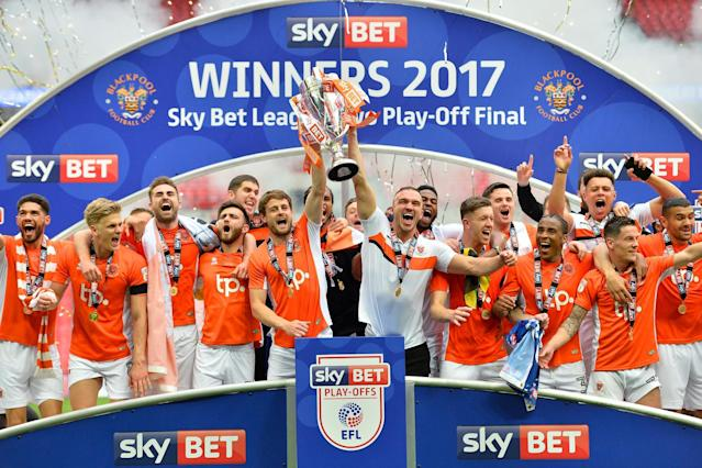 Blackpool 2 Exeter 1: Seasiders seal promotion from League Two amid Wembley Play-Off Final fan protest