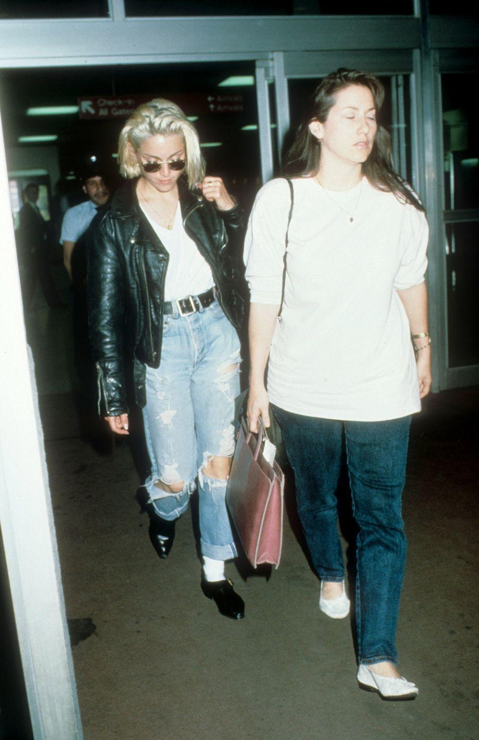<p>Madonna in the distressed denim that was what all the Cool Kids were wearing.</p>