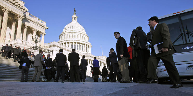 The Freshman class of House members gathers in front of the House of Representatives on Capitol Hill in Washington in 2010. (Photo: Harry Hamburg/AP)