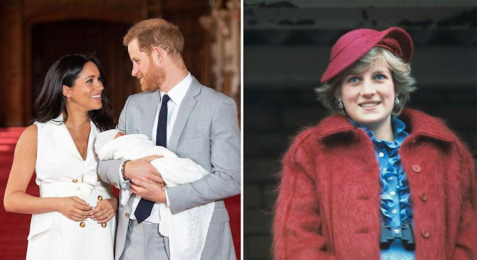 Meghan, Harry and their new arrival, left; Princess Diana, right. [Photo: Getty]