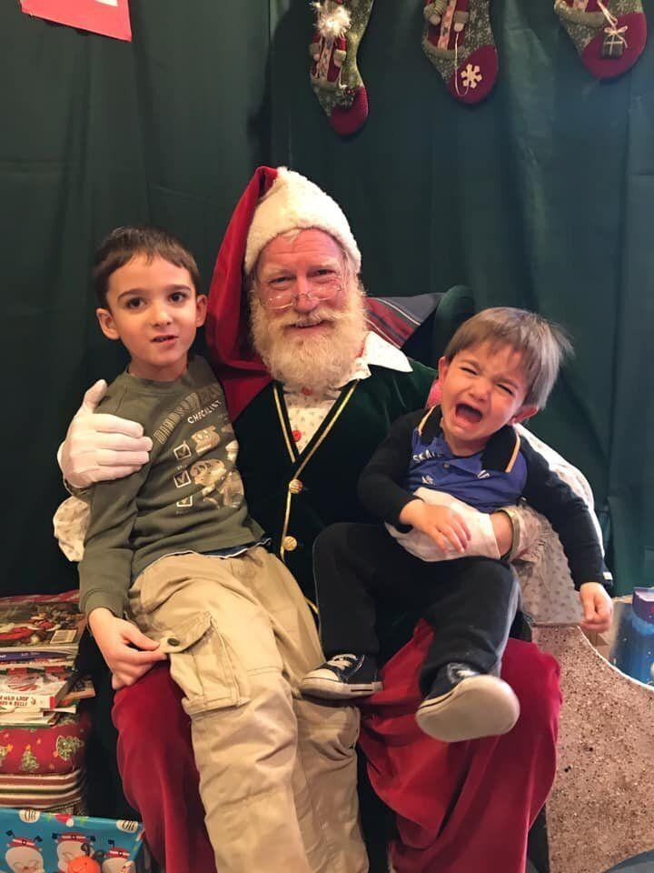 """This was last year, when Santa was pretty real for my four year old and a real terror for my one year old,"" says Vancouver's Melody Malaviarachchi."