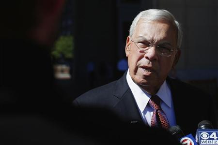 Boston Mayor Menino talks to reporters as he arrives for Boston College Chief Executives' Club of Boston luncheon in Boston
