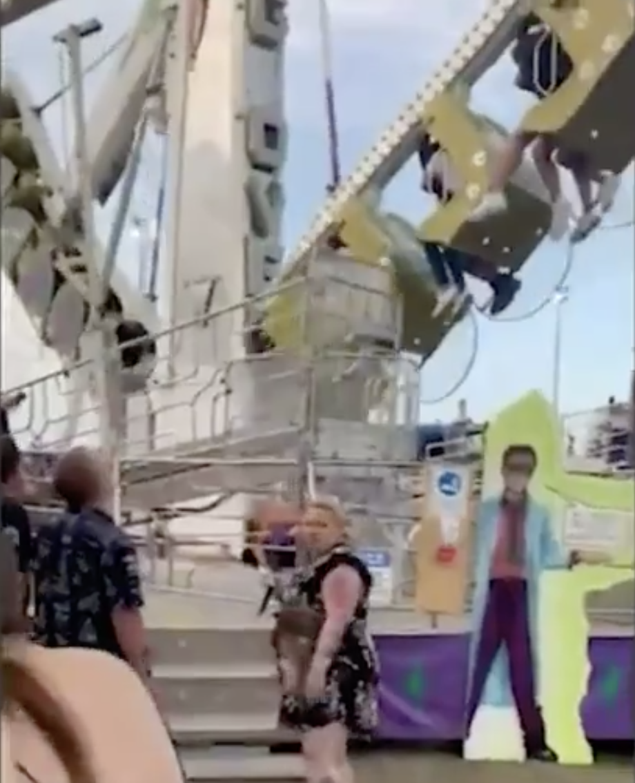 The ride had only just started when the woman begun to fall from her seat. Source: 9News