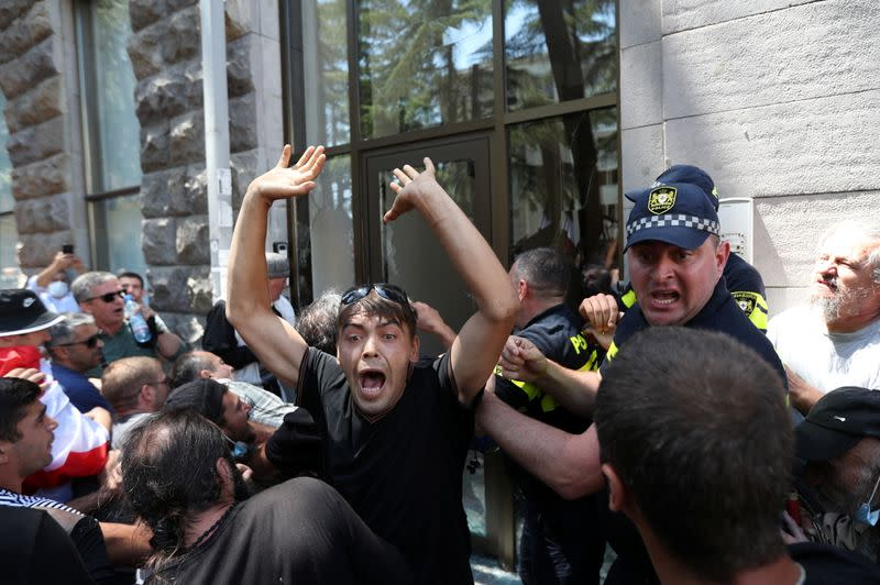 Protesters storm the office of LGBT+ campaigners ahead of the planned March for Dignity during Pride Week in Tbilisi