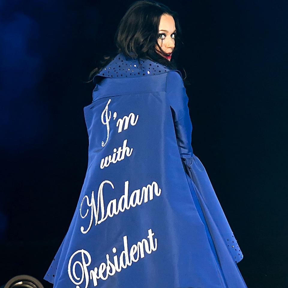 "Or that time she wore a custom cape emblazoned with ""I'm with Madam President"" in Swarovski crystals to campaign for Hillary Clinton."