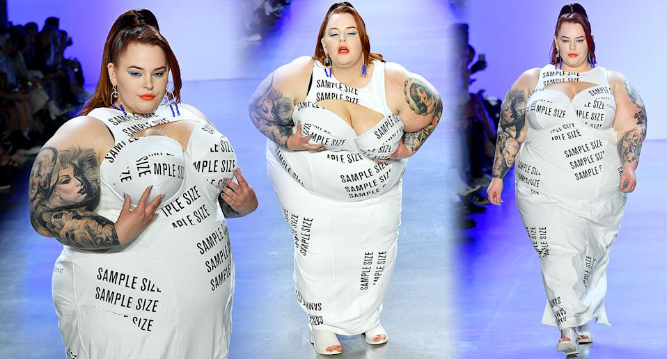 Tess Holliday walks the catwalk at Chromat's NYFW show. [Photo: Getty]