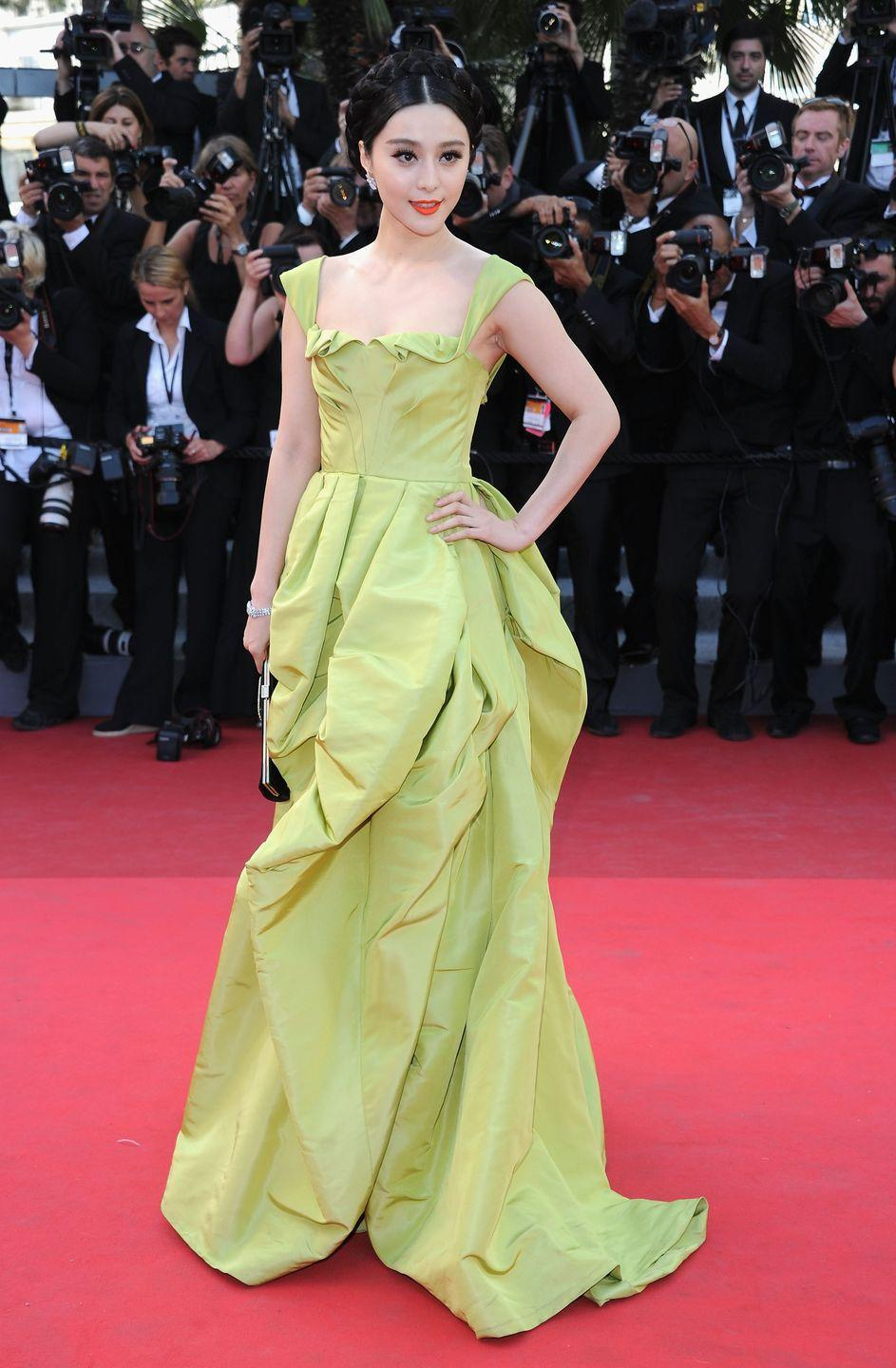 <p>Chinese actress Fan Bingbing shows off a ball gown with a full skirt, similar to what Tiana wore in <em>The </em><em>Princess and the Frog</em>. Fan's gown is by Oscar de la Renta and she wore it to the 2011 Cannes Film Festival. </p>