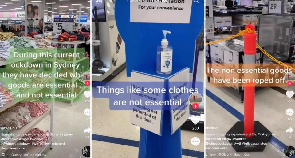 TikTok screengrabs showing Big W store with some sections roped off. Source: Source: TikTok/@nick.au