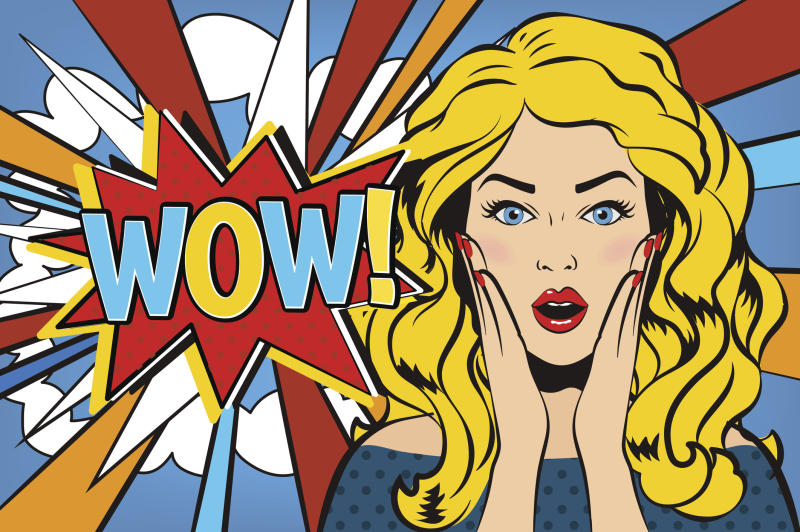 A cartoon-style image of a woman is shown. She's next to the word wow and has her palms on her cheeks in surprise.