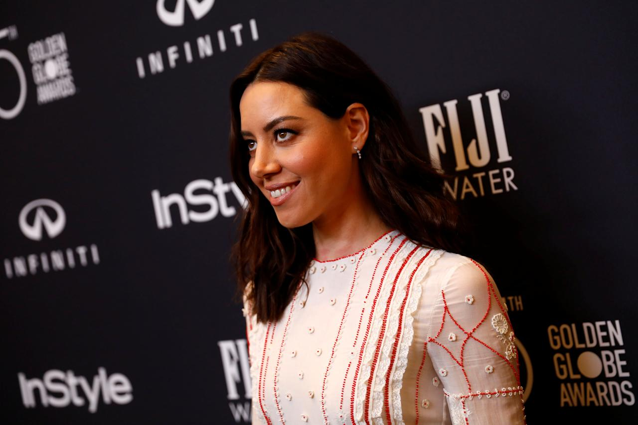 Actor Aubrey Plaza attends the Hollywood Foreign Press Association (HFPA) and InStyle celebration of the 75th Annual Golden Globe Awards season at Catch LA in West Hollywood, California, U.S. November 15, 2017. REUTERS/Patrick T. Fallon