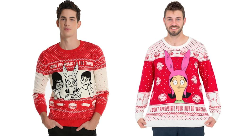 """<p>You may be stuck with your own family at the holidays, but sporting these sweaters with the Belcher bunch on them is a choice you can make proudly. <strong>Buy <a rel=""""nofollow noopener"""" href=""""http://www.boxlunch.com/product/bobs-burgers-ugly-holiday-sweater---boxlunch-exclusive/11053280.html"""" target=""""_blank"""" data-ylk=""""slk:here"""" class=""""link rapid-noclick-resp"""">here</a></strong> <strong>and</strong> <strong><a rel=""""nofollow noopener"""" href=""""http://www.uglychristmassweater.com/product/bobs-burgers-louise-appreciate-lack-sarcasm-christmas-sweater/?attribute_pa_sweater-size=large&gclid=EAIaIQobChMI79nbx8fS1wIVTrnACh28LwgaEAQYBCABEgLqm_D_BwE"""" target=""""_blank"""" data-ylk=""""slk:here"""" class=""""link rapid-noclick-resp"""">here</a> </strong> </p>"""