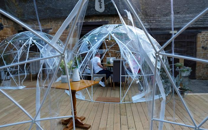 Covid 'igloos' at The Sondes Arms in Rockingham, Corby - John Robertson
