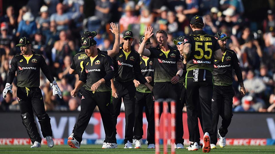 The Australian squad is not blaming the lingering effects of two weeks in quarantine for their T20 loss to New Zealand on Monday. (Photo by Kai Schwoerer/Getty Images)