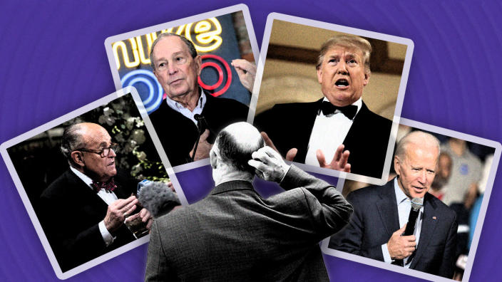 Rudy Giuliani, Michael Bloomberg, President Trump and Joe Biden. (Photo illustration: Yahoo News; photos: Evan Vucci/AP, Jeff Kowalsky/AFP via Getty Images, Evan Vucci/AP, Scott Eisen/Getty Images, Getty Images [2])