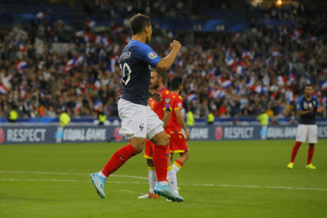 France's Wissam Ben Yedder celebrates his goal, France's third goal during the Euro 2020 group H qualifying soccer match between France and Andorra at the Stade de France in Saint Denis, north of Paris, France, Tuesday, Sept. 10, 2019. (AP Photo/Michel Euler)