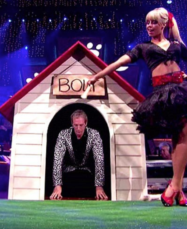 <p>The singer's performances during season 11 were typically awkward and clunky, but his jive with partner Chelsie Hightower took an even weirder turn when he entered the ballroom crawling on his knees via a dog house. Michael, you may have the voice of an angel, but no one needed to see that. </p>