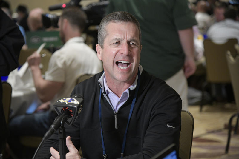 Baltimore Ravens coach John Harbaugh promised discipline for a player who tweeted a photo of him wearing a walking boot. (AP)