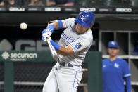 Kansas City Royals' Nicky Lopez doubles off Chicago White Sox relief pitcher Reynaldo Lopez during the seventh inning of a baseball game Thursday, Aug. 5, 2021, in Chicago. (AP Photo/Charles Rex Arbogast)