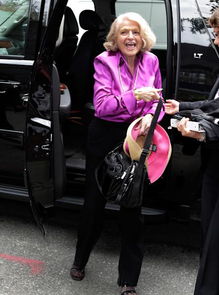 ADDS THAT WINDSOR IS THE PLAINTIFF IN THE HISTORIC GAY MARRIAGE CASE BEFORE THE U.S. SUPREME COURT - Edith Windsor, the plaintiff in the historic gay marriage case before the U.S. Supreme Court, arrives at the LGBT Center for a news conference, in New York, Wednesday, June 26, 2013. In a major victory for gay rights, the Supreme Court on Wednesday struck down a provision of a federal law denying federal benefits to married gay couples and cleared the way for the resumption of same-sex marriage in California. (AP Photo/Richard Drew)
