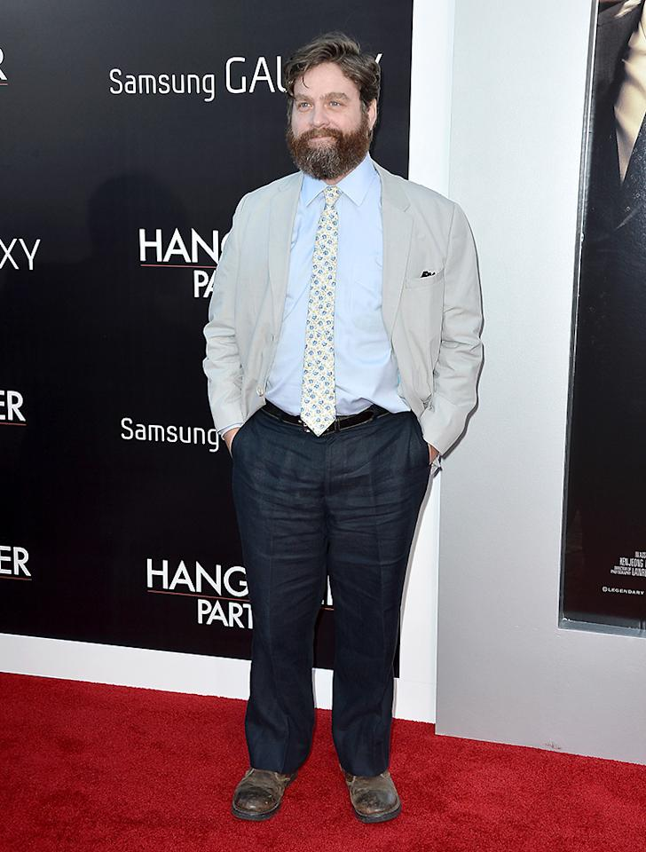 "WESTWOOD, CA - MAY 20:  Actor Zach Galifianakis attends the premiere of Warner Bros. Pictures' ""Hangover Part 3"" at Westwood Village Theater on May 20, 2013 in Westwood, California.  (Photo by Frazer Harrison/Getty Images)"