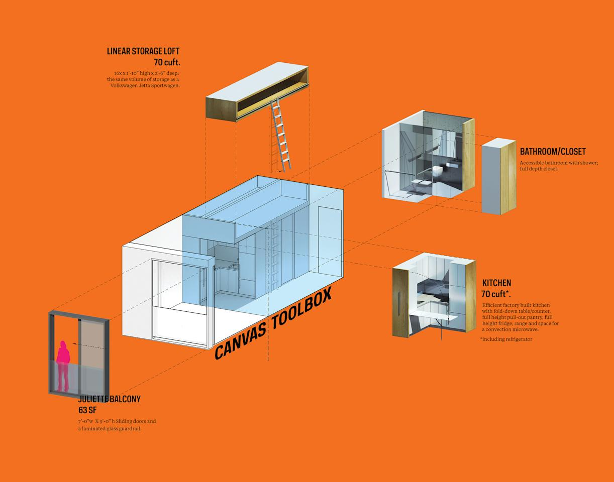 New York micro-apartment design winner announced orange full-frame