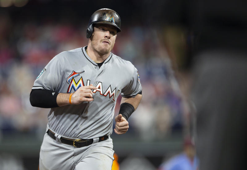 Slugger Justin Bour is headed to the Phillies after a trade with the Marlins. (AP)