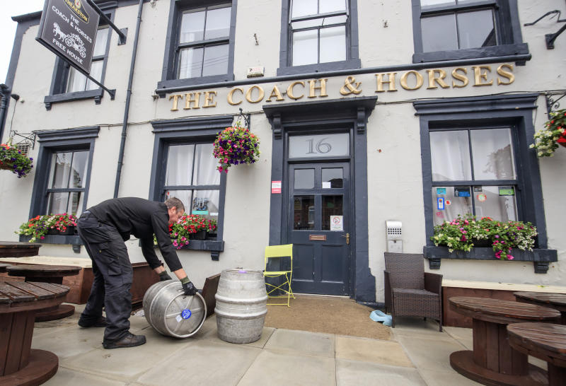 Samuel Smith's brewery delivers beer to the Coach and Horses pub in Tadcaster, Yorkshire, as pubs prepare for reopening to members of the public when the lifting of further lockdown restrictions in England comes into effect on Saturday. (Photo by Danny Lawson/PA Images via Getty Images)