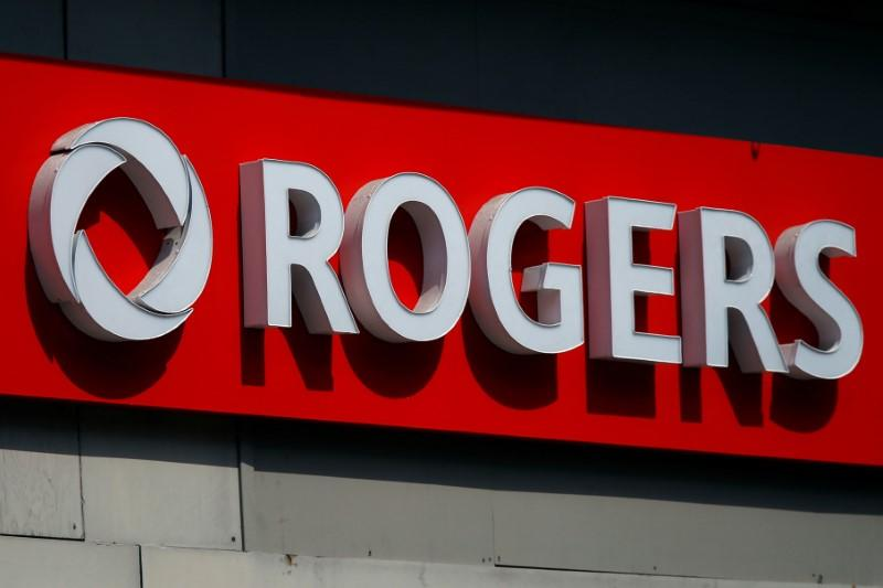 A sign is pictured outside a Rogers Communications retail store in Ottawa