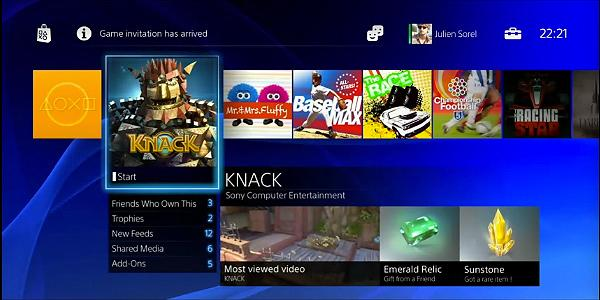 Screengrab of redesigned PlayStation home screen via PSU.com livestream