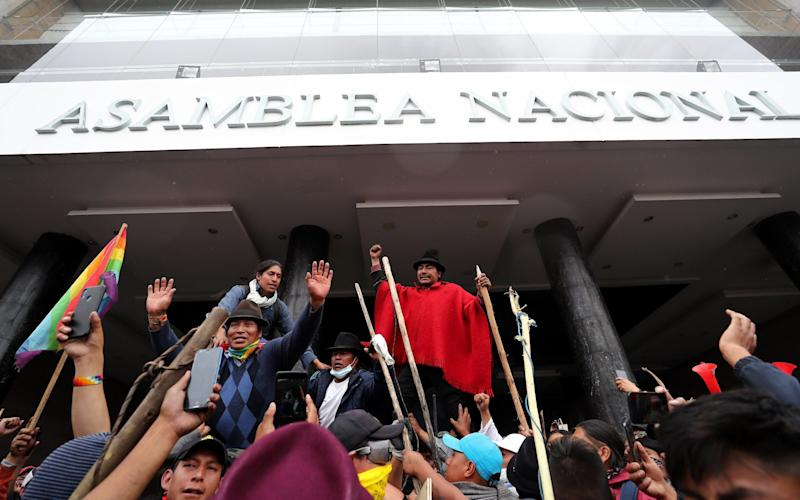 Indigenous protesters take the National Assembly building in Quito - REX
