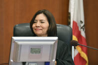 San Francisco Superior Court Judge Suzanne Ramos Bolanos reads the verdict in the case against Monsanto at the Superior Court of California in San Francisco on Friday, Aug. 10, 2018. A San Francisco jury on Friday ordered agribusiness giant Monsanto to pay $289 million to Dewayne Johnson, a former school groundskeeper dying of cancer, saying the company's popular Roundup weed killer contributed to his disease. (Josh Edelson/Pool Photo via AP)
