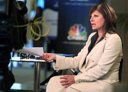 """Television journalist Maria Bartiromo, anchor of CNBC's """"Closing Bell with Maria Bartiromo,"""" is shown on location at the Milken Institute Global Conference in Beverly Hills, California"""